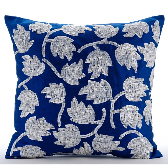 Luxury Silk Throw Pillows : Luxury Royal Blue Throw Pillow Covers 16x16 Silk