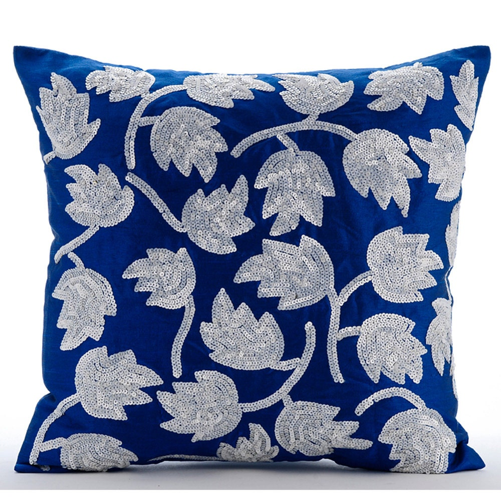Throw Pillows Royal Blue : Luxury Royal Blue Throw Pillow Covers 16x16 Silk