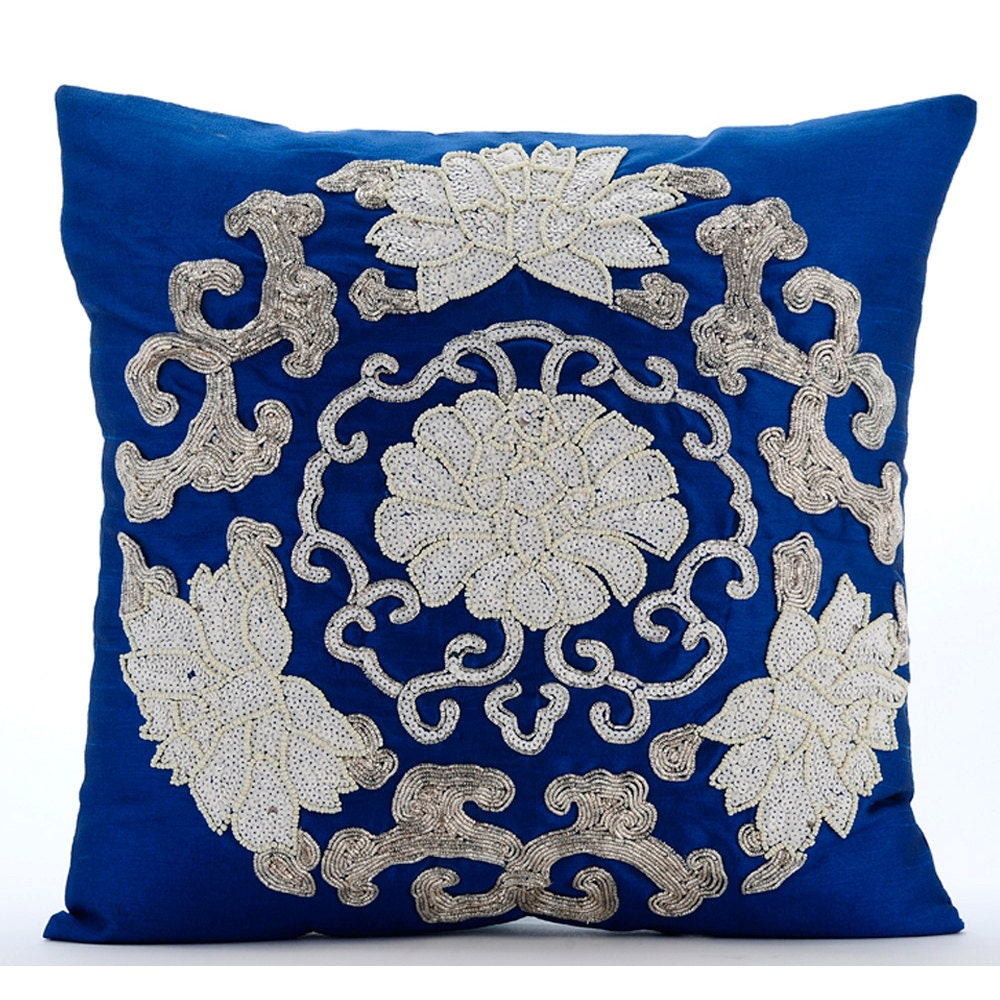 Throw Pillows Royal Blue : Royal Blue Pillow Cases 16x16 Square Silk Throw