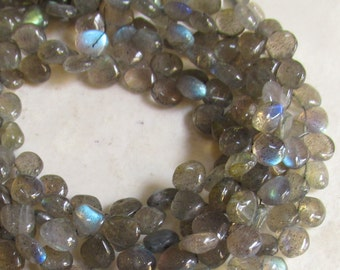9 Inches Fire Labradorite Briolette Beads Qty 57 7mm