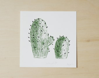Art print cactus illustrations screen printed