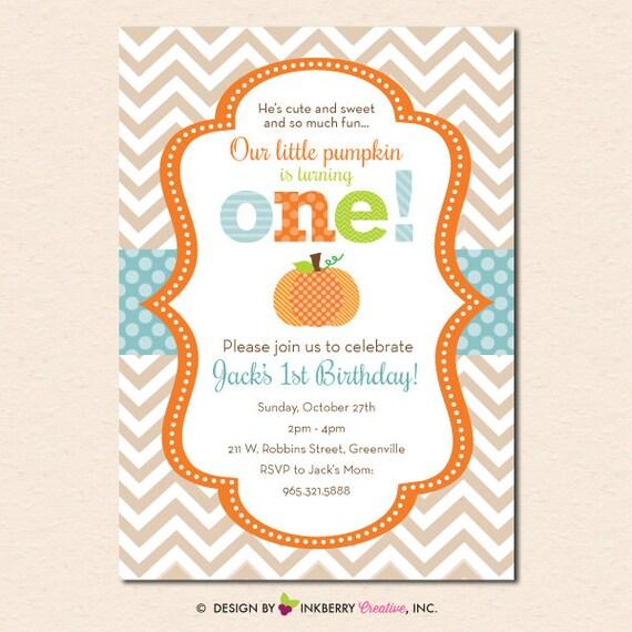 Little Pumpkin Chevron First Birthday Invitation Digital File OR