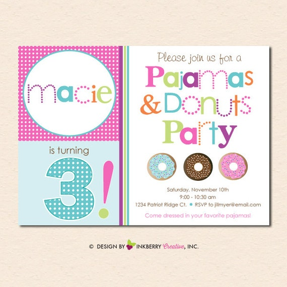 Pajamas and Donuts Birthday Party Invitation (Digital File - Printed Cards Also Available)