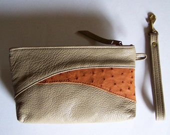 Taupe Leather Clutch Purse with Genuine Tan Ostrich Inlay