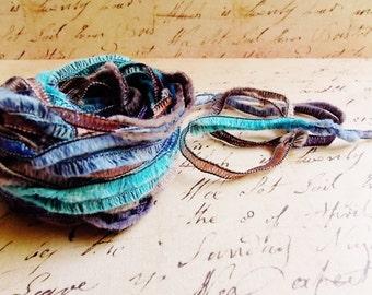Turquoise Blue Brown Gemini Fringe Ribbon Garland ~Novelty trim Scrapbooking wedding favor craft supply, holiday gift wrap mixed fiber art