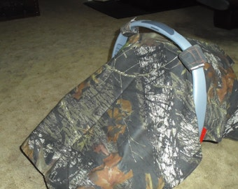 Mossy Oak camo with orange lining infant car seat canopy--seat not included