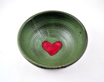 Red heart Pottery bowl, Valentine's day gift, wedding gift, bowl - In stock