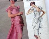 Vogue 2277  Belleville Sassoon DESIGNER Bustle Back Bow Back Cocktail Dress - Bridal Evening Prom Occasion Gown - UNCUT