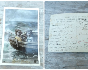 Vintage Antique 1900 old French postcard recolored Les petits marins