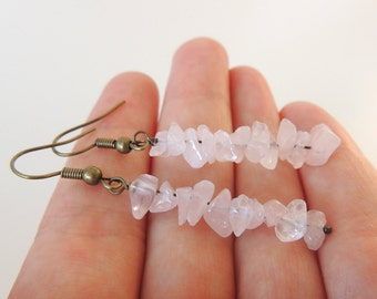 Quartz Bead Earrings -- Pink Gemstone Chips -- Long Beaded Drops -- UK Shop