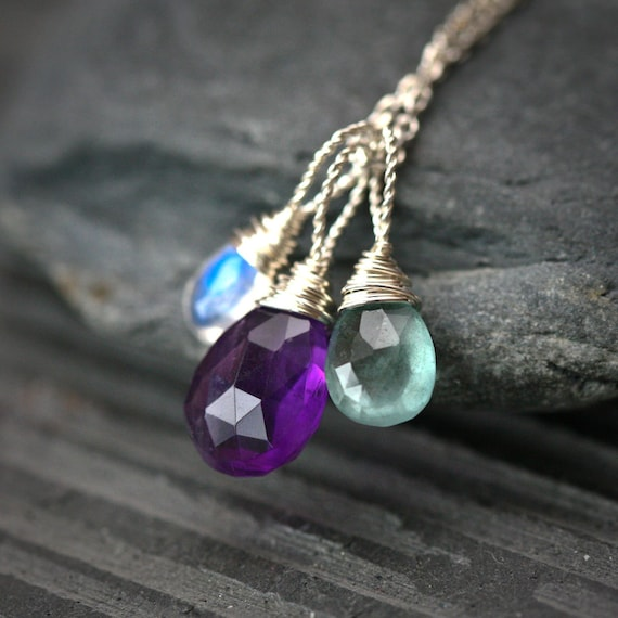Wire Wrapped Trio - Purple Amethyst Moss Aquamarine and Rainbow Moonstone Sterling Silver Charm Necklace