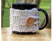 Knitted patchwork cozy mug cozy cup cozy button wrap in linen