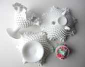 Beautiful Vintage Fenton Milk Glass Hobnail Compote/Bowl Collection of Three