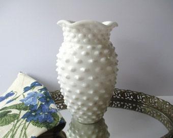 Vintage Smith Milk Glass Hobnail Vase