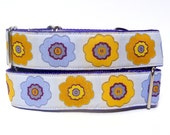 "17-24"" Martingale dog collar 1.5"" wide OPA 2 lavender and yellow modern floral"
