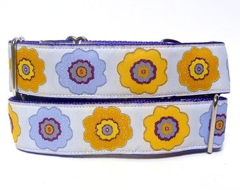 """17-24"""" Martingale dog collar 1.5"""" wide OPA 2 lavender and yellow modern floral"""