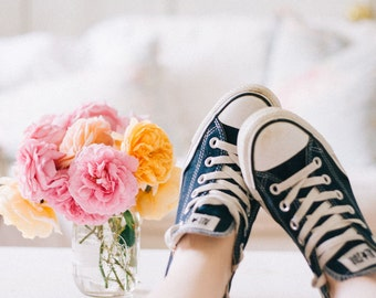 Still Life Photography - English Roses Bouquet Vintage Blue Tones Chucks Converse Teen Room Decor Still Life Pink White Whimsical Photo