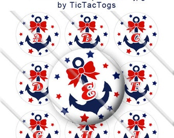 Anchor Red Bow Stars Alphabet Bottle Cap Images Digital Collage 1 Inch A-Z Digi - Instant Download - BC501