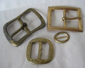 4 Shabby Gold Buckles Vintage
