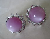Violet Thermoset Moon Stone Earrings Clip Silver Vintage Moon Glow