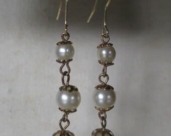 Pearl Earrings Pierced Wire Gold Filigree Dangle Vintage