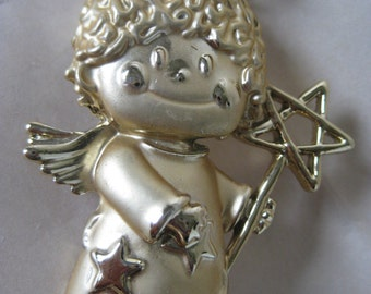 Angel Star Gold Brooch Vintage Pin