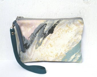 UPCYCLED Spring Abstract Wristlet. Recycled Leather. Wrist Strap. Watercolour Print Clutch.