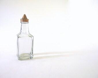 Vintage 1940's Medco Glass Oil or Vinegar Square Bottle Dispenser Cruet