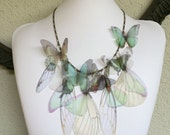 I Will Fly Away - Handmade Teal and Orange Shades Silk Organza Butterflies and Wings Necklace - One of a Kind