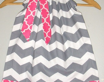 Gray white pink Quatrefoil  Chevron Pillowcase dress available in size 3,6,9,12,18, months ,2t,3t,4t,5t,6,7,8,10,12