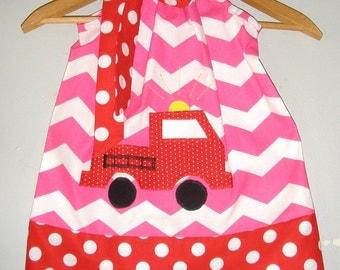 Dress Fire truck dress   pink red  appliqued pillowcase dress sizes  3, 6, 9, 12, 18 months , 2t, 3t, 4t, 5t, 6. 7.8