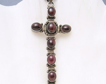 Large Vintage Sterling Cross Pendant Necklace Red Jewelry N5536