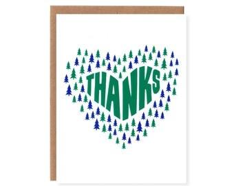 Evergreen Tree Thank You --Screenprinted Notecard