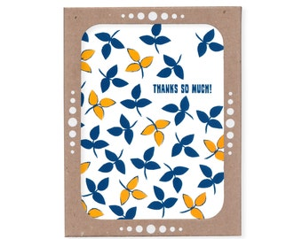 Thanks So Much -- Falling Leaves Set of Six Thank You Cards