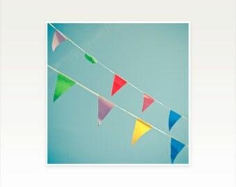 CLEARANCE SALE! Summer Bunting Art, Colourful Flag Art, Art for Kids - A Celebration