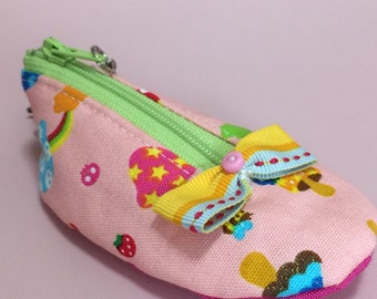 Mini shoe coin pouch keychain - cotton mushrooms