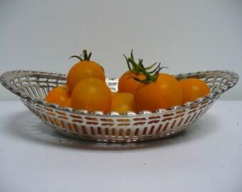 Small Silverplate Lattice Oval Dish