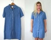 Womens Denim Dress Medium - Button Up Dress - Shirt Dress Vintage