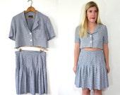 Matching Crop Top and Skirt Set - Gingham Dress