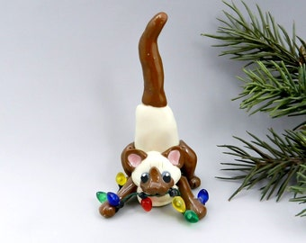 Siamese Burmese Cat Chocolate Point Christmas Ornament Figurine Porcelain
