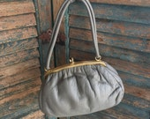 Sweet Little Gray Leather Handbag