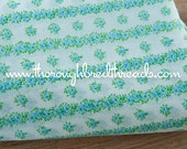 Pretty Rose Stripes- Vintage Fabric New Old Stock 60s wide Cottage Charm Blue
