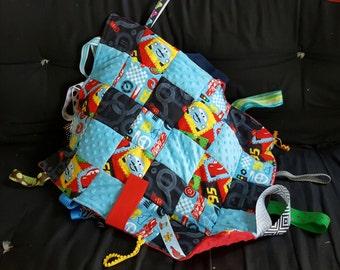 "Tummy Time Tag Blanket Cars Print, Green Minky Backing, 18.5"" X 23"""