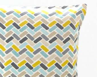 12 x 16 inch decorative pillow cover blue teal yellow grey abstract blocks cushion cover