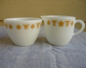 Vintage Pyrex Corning cream and sugar set, Golden butterfly cream and sugar,