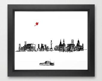 Liverpool City Skyline  Fine Art Print, Modern, Decor, Wall Art, City, Home Decor, skyline , UK, England