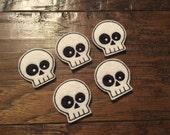 SALE Set of 5 Skull Embroidered Felt Appliqués Felties