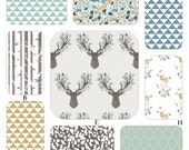 Reserved for Amanda, Boy Woodland Aqua and Gray Baby Custom Crib Baby Bedding - Fawn in Aspen