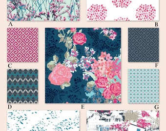 Pink, Aqua and Gray Floral Custom Crib and Baby Bedding - The Sea Collection