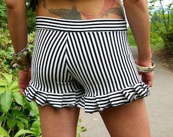 Striped Ruffle  Shorts  --  Shorter  Inseam